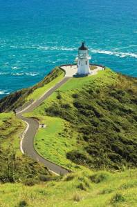 The lighthouse at Cape Reinga, northernmost point of New Zealand where two oceans meet.