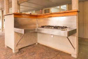 Gas hobs in covered courtyard area