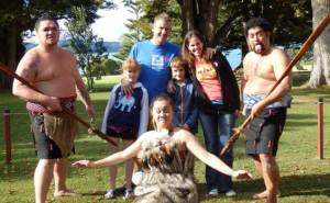 David & Victoria and their children enjoy a real Maori experience