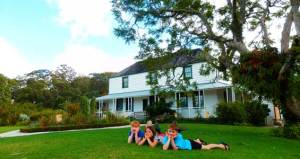 On the lawn in front of Kerikeri Mission Station.