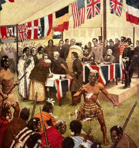 Treaty of Waitangi signing, led by Hone Heke